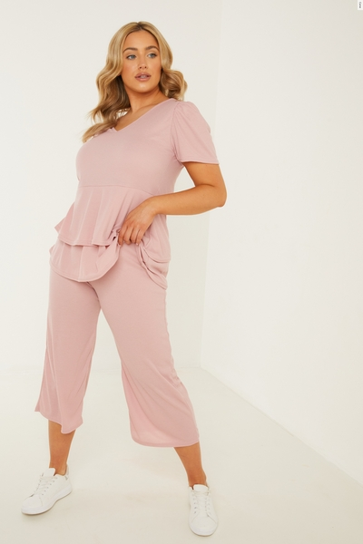 Curve Pink Ribbed Culotte Trousers